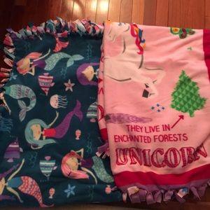 Unicorns and mermaids ❤️❤️ handmade fleece throws